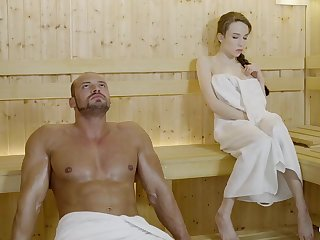 Russian gal with braided hair with an increment of large mammories got drilled in the sauna, until she came