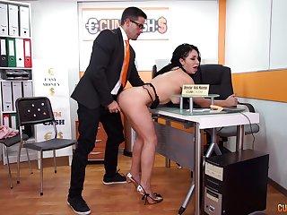 Long haired slutty secretary Evita Love sucks her bosses cock occurring