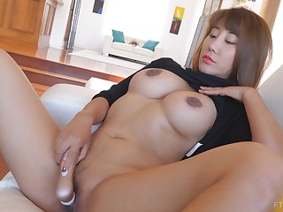 Exotic Asian MILF Tiffany has jumbo skit tits and masturbates