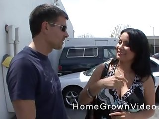 Playful Latina MILF swallows a cumshot at get under one's parking lot
