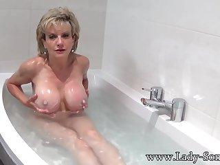 Son Sonia takes a bath then rubs their way pussy