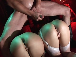 Extreme toying and brutal femdom with two whores