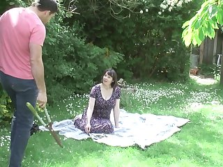 Busty British adult amateur Tigger fucks her gardener in sight