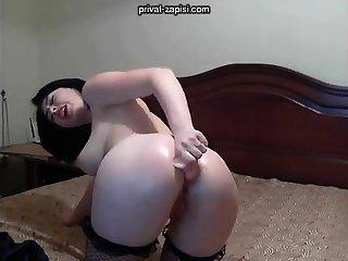 Solo angel enjoys anal masturbation with toys