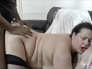 BBW fucked in their way bald cunt by a big coloured cock