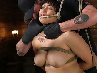 Tied up chubby model Mia Shortened gets her pussy punished unknowing basement