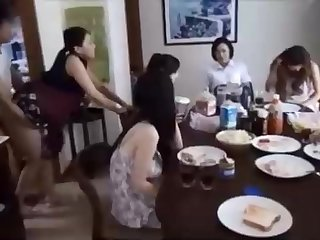 Naughty Chinese ally is banging his wifey in front of his family, and loving it