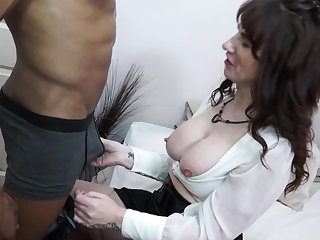 Long haired grown-up night-time masturbates while getting fucked hardcore