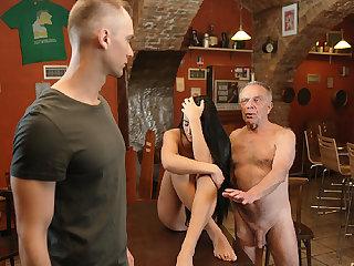 DADDY4K. Aged dad seduces beautiful dark hair girl while son..