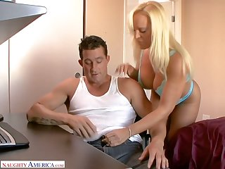 Amazing huge boobed blonde cowgirl Alexis Golden happily rides fat flannel