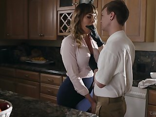 Kinky stepson fucks frowardness watering cougar Dana DeArmond and cums on her tummy