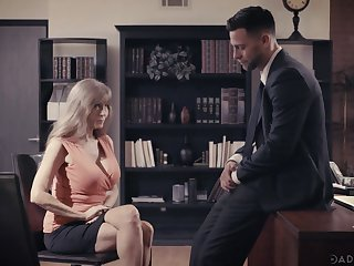 Bosomy mature employee Darla Crane is making love with young boss
