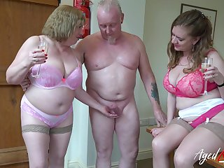 Three perverted old housewives bangs one dude living nextdoor