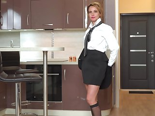 Money Russian inclusive Oliya is masturbating pussy in the kitchen